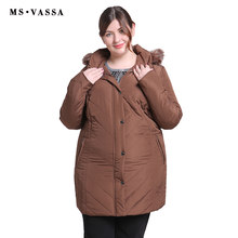 MS VASSA Plus Size Women Coats 2019 New Ladies Parka Winter Jacket Women Turn-down collar Parkas Hood with fur Big Size outwear(China)