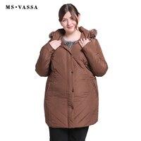 MS VASSA Plus Size Women Coats 2019 New Ladies Parka Winter Jacket Women Turn down collar Parkas Hood with fur Big Size outwear