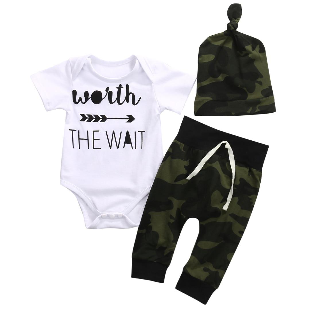 3PCS Newborn baby Boys clothing set Romper +Camouflage Pants+ Hat infant clothes 3pcs suit baby girl clothing sets