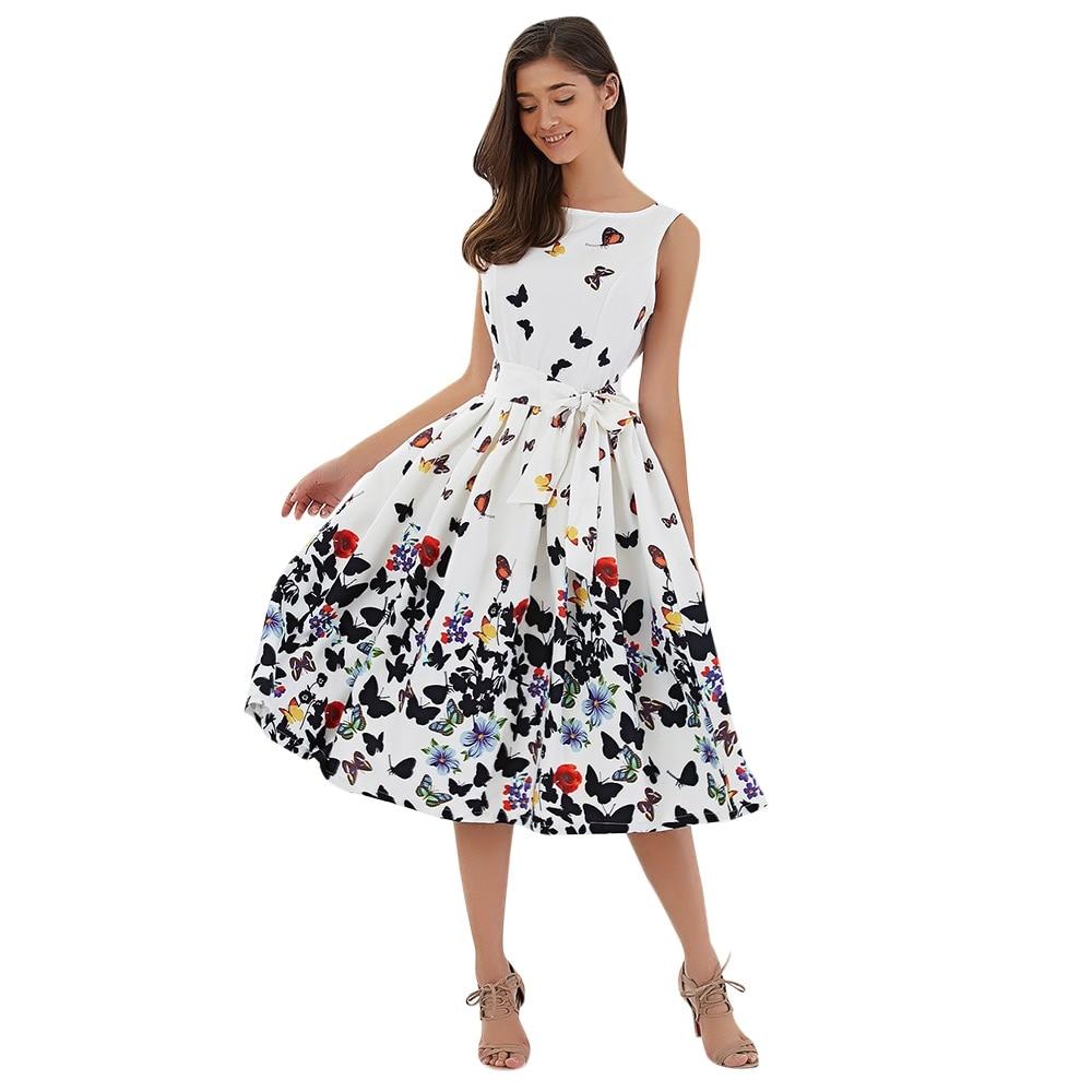 Vestidos 2017 New Summer Dress Sleeveless Vintage Floral