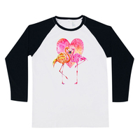 Fasnhion Flamingo Printed Cartoon Animals Pullovers Spring Autumn Long Sleeve O Neck Cotton T Shirt Brand Clothing Tops