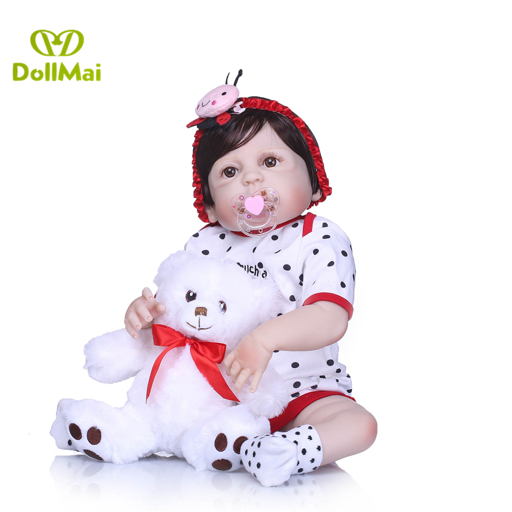 57cm Newborn Doll 23 Inch Lifelike Reborn Alive Doll Full Body Silicone Handmade Waterproof Toddlers Bebe Birthday Present Driving A Roaring Trade