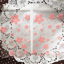 50pcs 12x18cm Light Pink Cherry Blossom Self adhesive Frosted Cellophane Bag, Self Seal Party Packaging bags