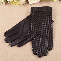 Hohe Qualität Geschäfts Echtes Leder Handschuhe Männer Ziegenleder Handschuh Herbst Winter Plus Thermische Samt Mode Woven Plaid EM019NC-5