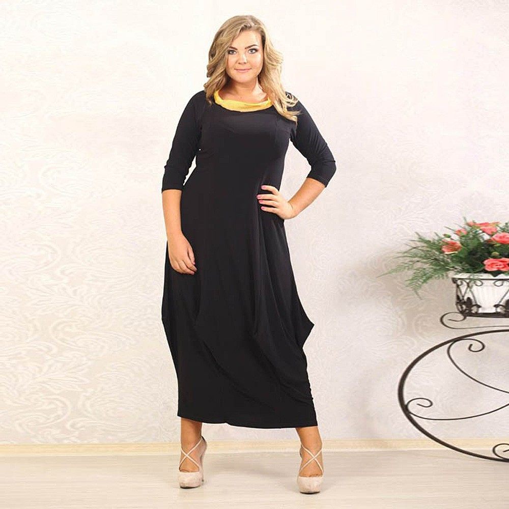 Black dress loose - Robe Women Black Long Dresssleeve Loose Bodycon Maxi Dress Dresses Big Sizes Clothing Sale 2016 Fast