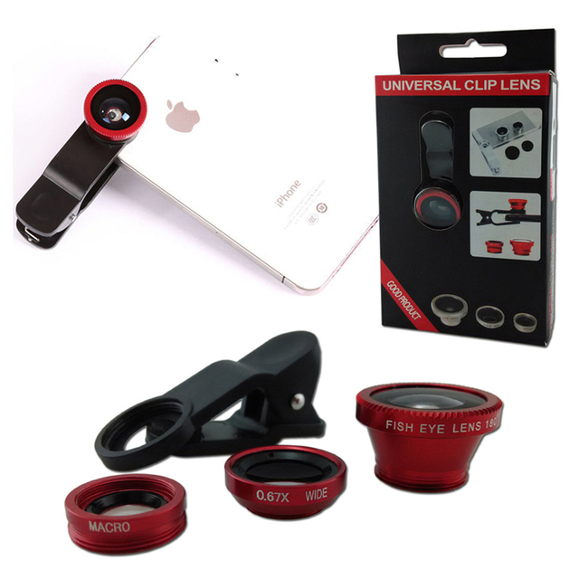 3 In 1 Lens Clip Selfie Kit Macro Wide Angle Lenses Lentes Fish Eye Lens Set for Mobile Phone for iPhone 4 5s 6s Plus Xiaomi