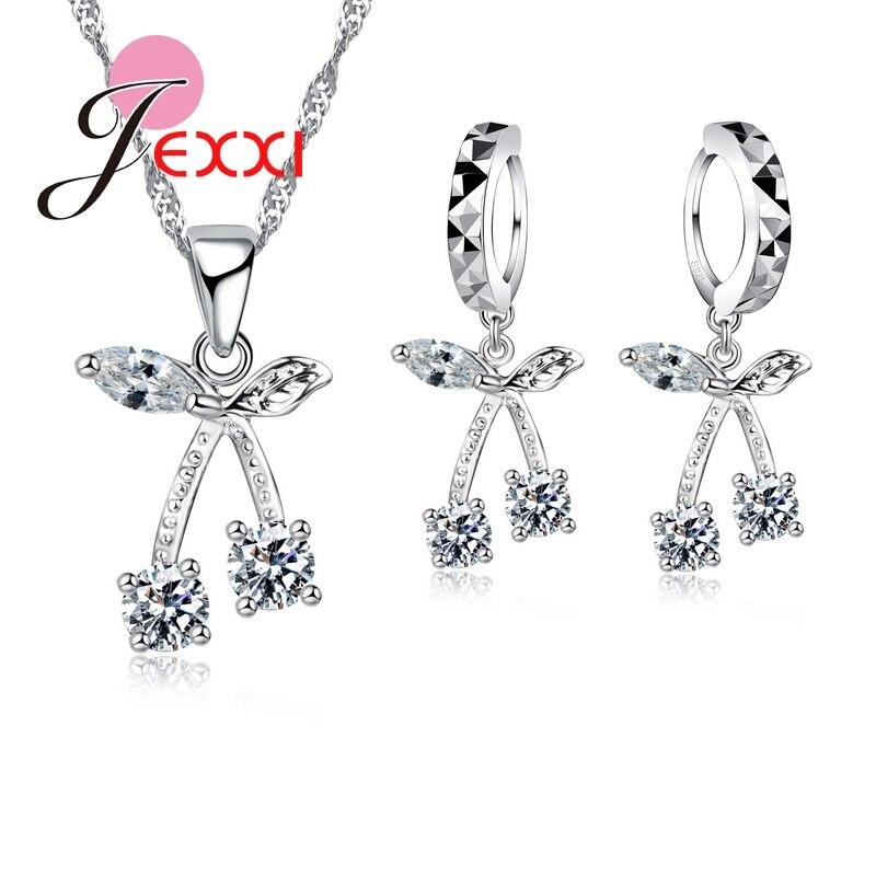 Üppigen 925 Sterling Silber Schmuck Sets 2 Farben Hoher Qualität Frauen Kristall Kirsche Design Halskette Set Anhänger Ohrringe Clear-Cut-Textur