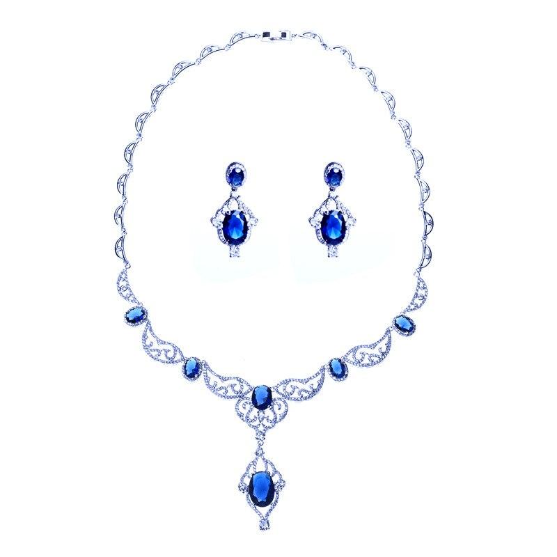 Femmes nuptiale bleu clair en forme d'oeuf Zircon ensemble de bijoux deux pièces ensemble de mariée de mariage pierres précieuses or blanc bijoux Royal