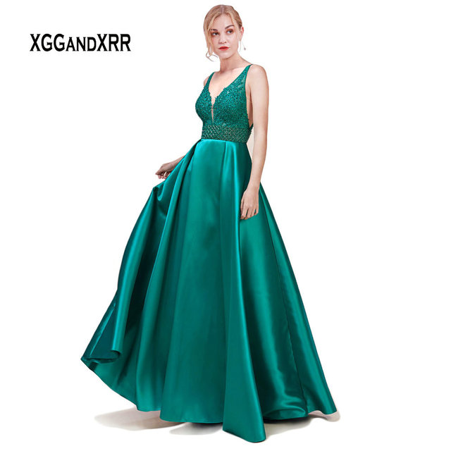 Elegant Green Satin Dress 2019 Evening Dress Long Sexy V Neck Lace Applique Backless Woman Formal Party Gown robe de soiree