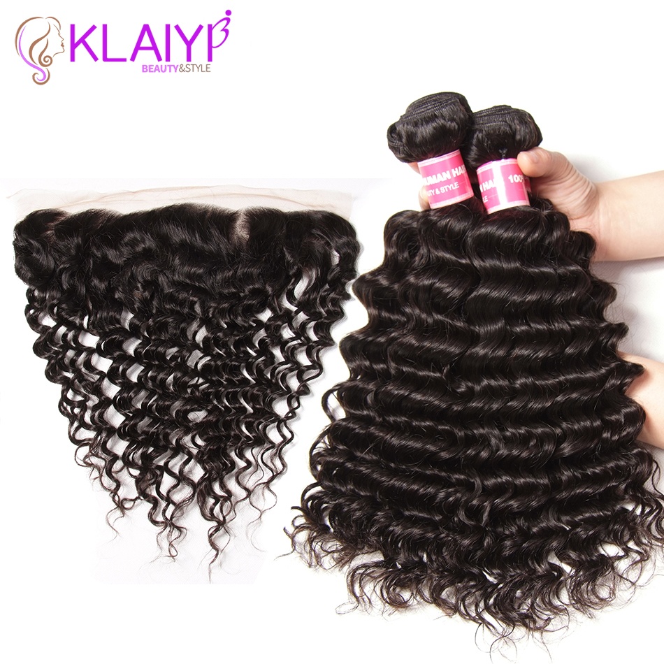 Klaiyi Hair Deep Wave Bundles With Frontal Malaysian Hair 4 Bundles Remy Hair Weave Ear To Ear Human Hair With Frontal