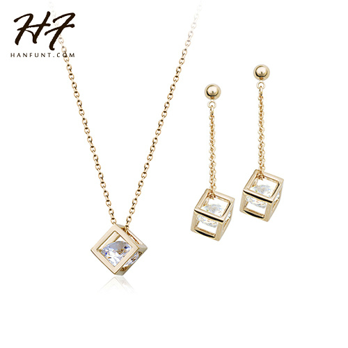 New! Rose Gold Color Cubic Frame with CZ Crystal Inside Earrings and Necklace Set S058
