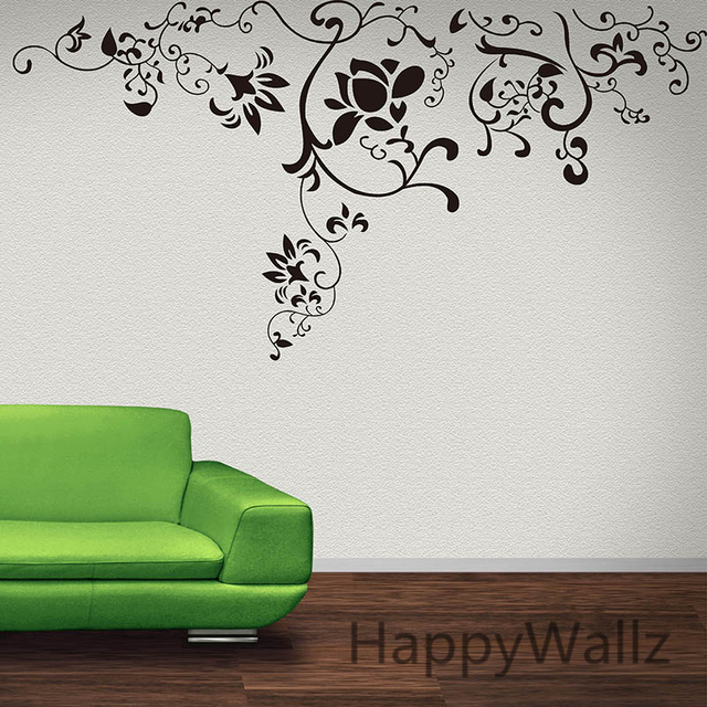 Flower wines wall sticker 3d beautiful flowers wall decal diy flower wall decors flower wallpaper f15