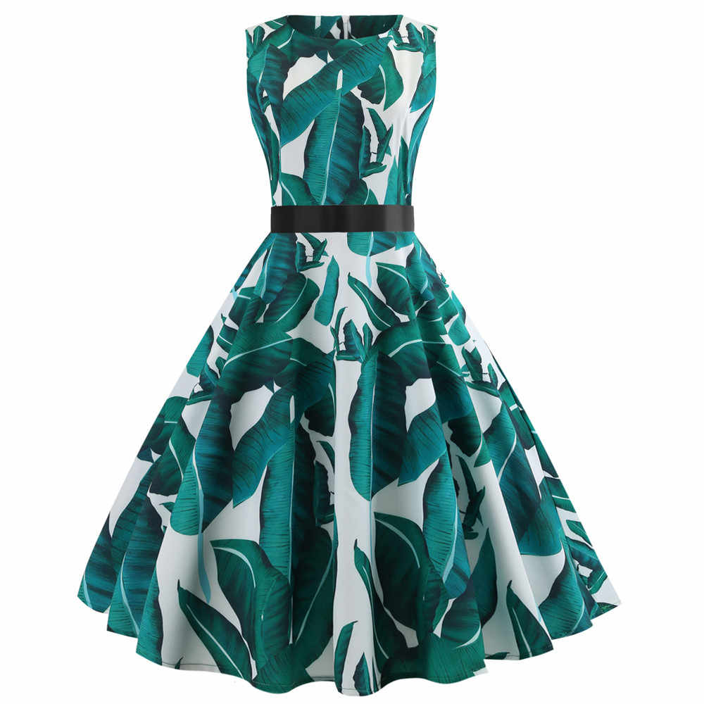Vintage แขนกุด O คอพิมพ์ Party พรหม Swing ชุด sukienki wieczorowe krotkie vestidos de fiesta de noche #3