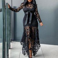 Vintage Party Sexy Black Lace Long Dress Plus Big Size Large M XXXL 4XL Women Mesh Hollow Bodycon Blue African Maxi Dress Ladies