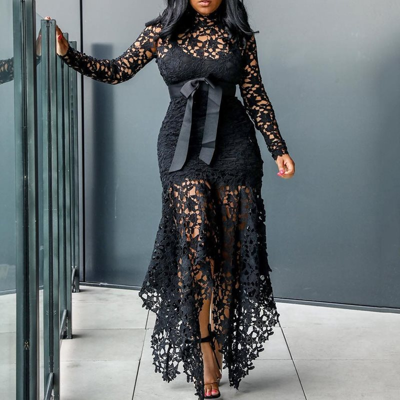 Vintage fête Sexy dentelle noire longue robe Plus grande taille grande M-XXXL 4XL femmes maille creuse moulante bleu africain Maxi robe dames