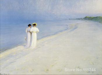 danish art Summer Afternoon on Skagen Beach Peder Severin Kroyer paintings for sale High quality Hand painted