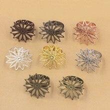 Многоцветные покрытые кольца с 26 мм филигранные Круглые Цветочные основы латунные металлические заготовки регулируемые кольцевые результаты DIY Изготовление