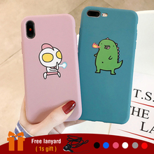 Cute Cartoon Case for iPhone 6 6s plus Soft TPU Cover X XS XR MAX Couple Telefon Cases Matte Plain