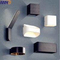 IWHD פשוט נורדי LED לתאורה בבית המודרנית מנורת קיר פמוטים קיר אור שחור לבן LED Lampara Wandlampen Pared