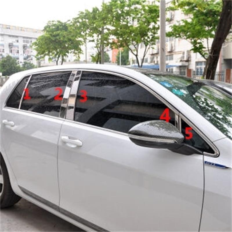 10 pièces/ensemble style de voiture idéal pour Volkswagen Golf7 Autocollants Fenêtre Pilier Cover Version avec qualité supérieure ABS Chrome golf 7 Accessoires
