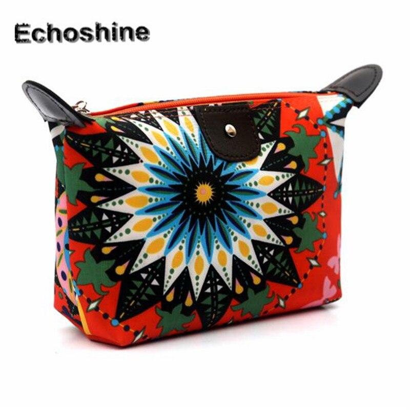 Fashion Women Flower Floral Canvas Zipper Cosmetic Case Travel Make Up Cosmetic Pouch Bag Clutch Handbag Casual Purse A2000