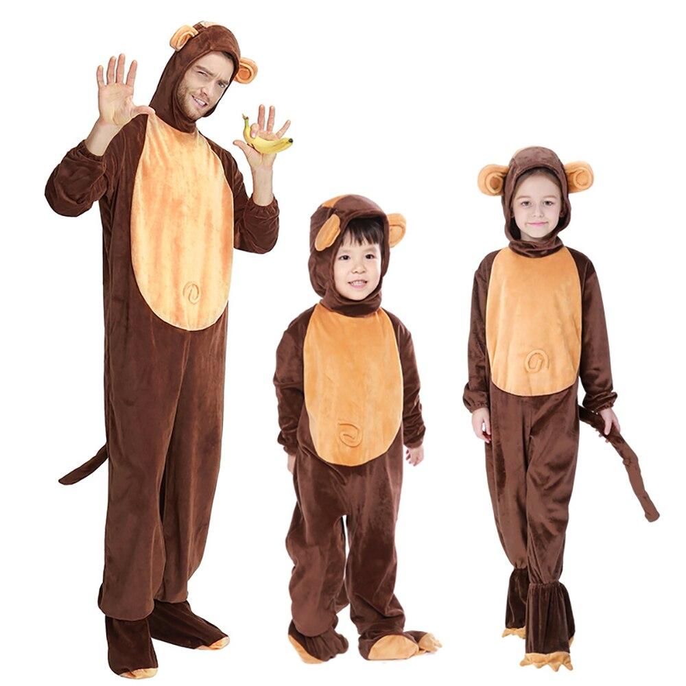 Famille Singe Costume Enfants Adultes Onesies Animaux Salopette Capot Couvre-chaussures Outfit Halloween Carnaval Partie Fantaisie Robe