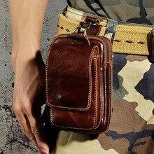 Άνδρες αγελάδα Γνήσια δερμάτινη Fanny τσάντα μέσης τσάντα αποθήκευσης τσέπης θήκη τσιγάρων θήκη νομίσματος θήκη στρατιωτική αρσενικό πακέτο