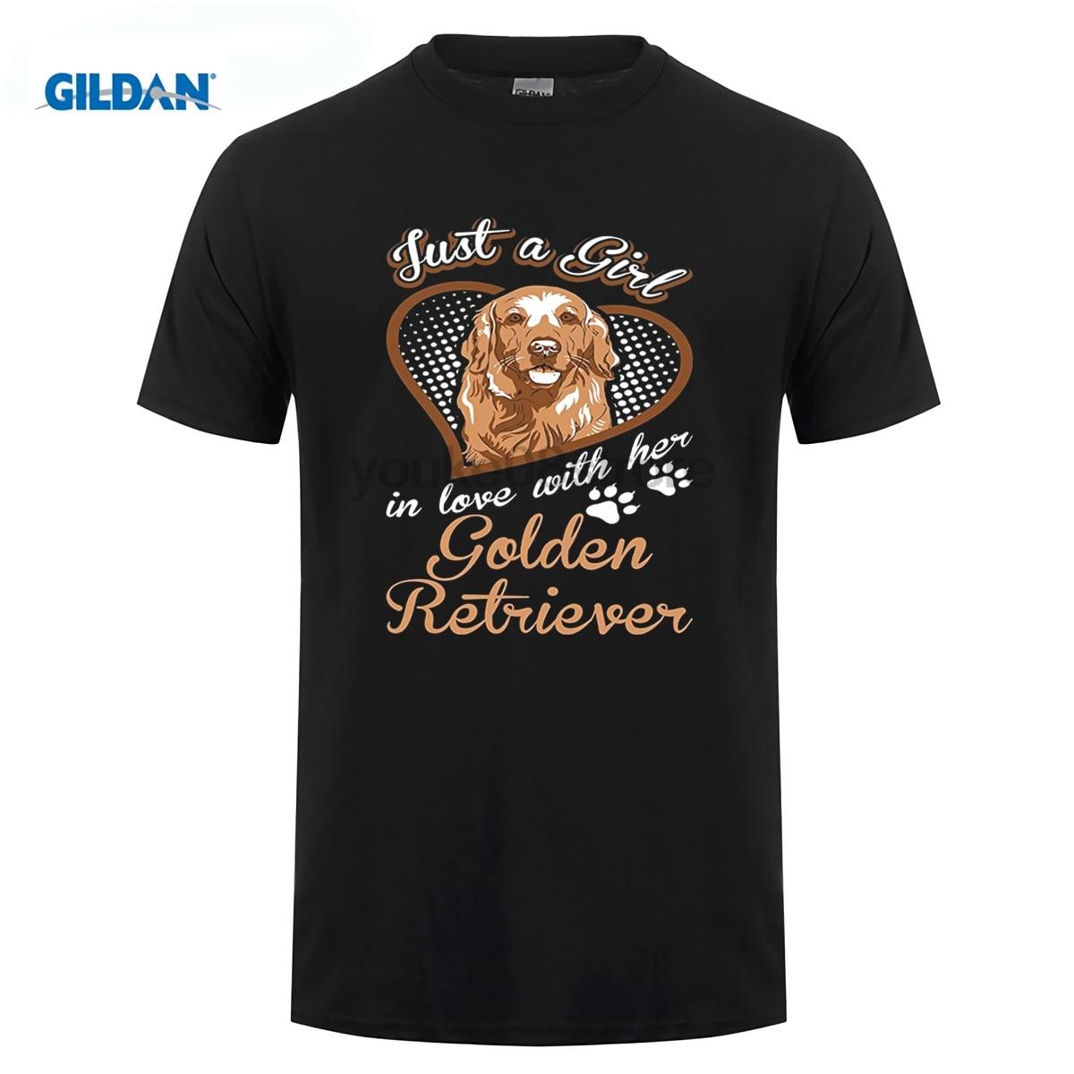 GILDAN 100% Cotton O-neck custom printed T-shirt Just A Girl In Love With Her Golden Retriever Dog TShirt