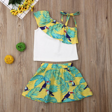 Toddler Baby Girl Outfits Green Leaf Tops Off Shoulder Floral Ruffle Sleeveless T shirt Skirt Summer Sunsuit Clothes set 2019 kids toddler girl summer clothing set ruffle off shoulder t shirt top bow skirt tutu dress stripe baby clothes outfit
