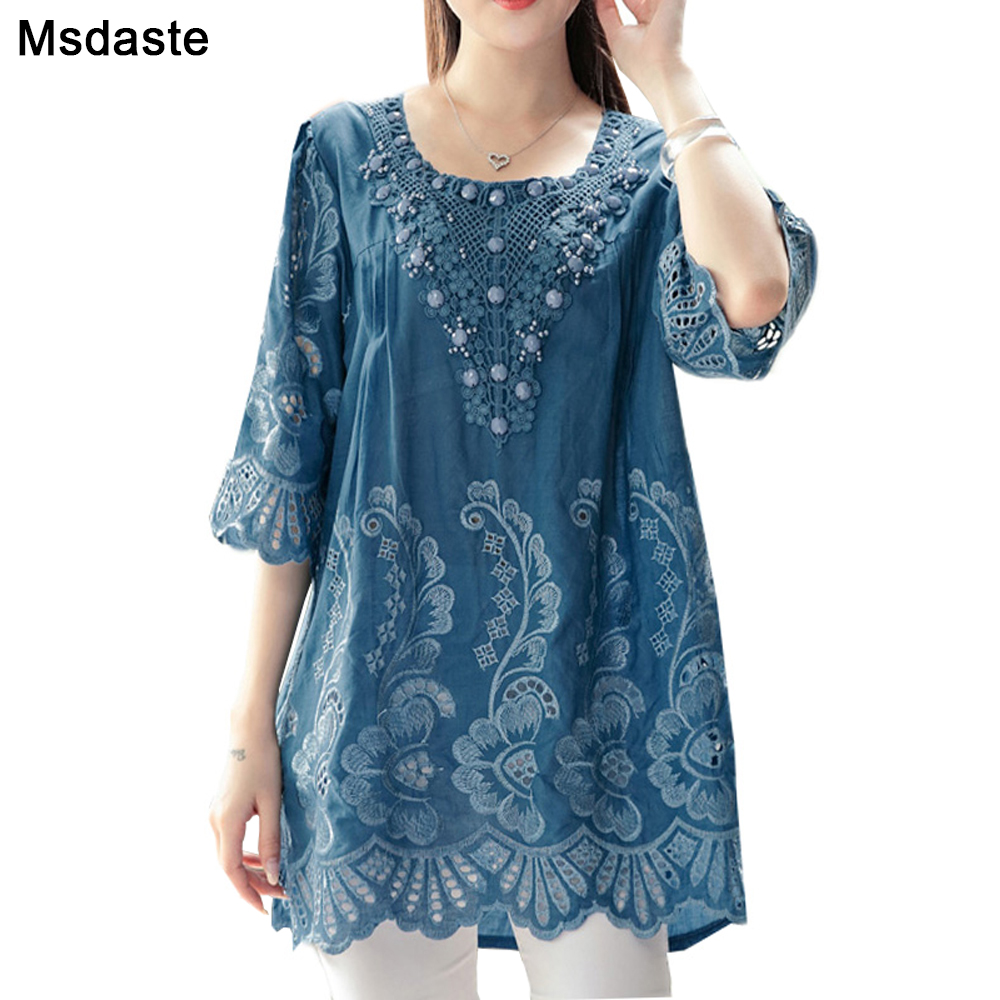 Summer Blouses And Tops For Women 2019 Embroidery Beads Vintage Ladies Blouse Plus Size XL~4XL A-line Loose Woman Tunic Tops