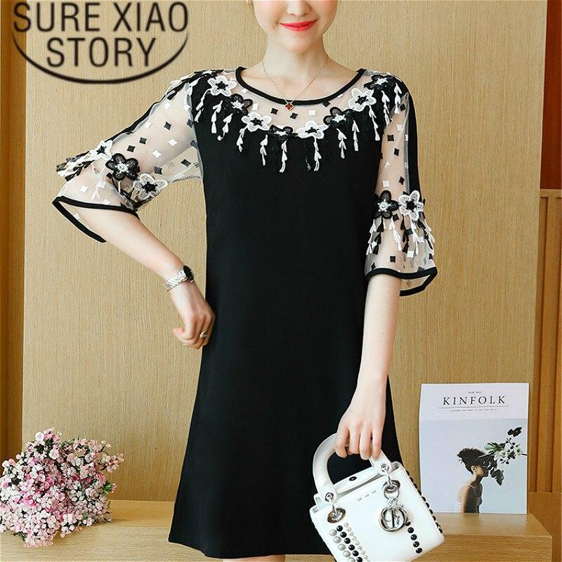 As mulheres se vestem 2019 Reta Patchwork vestido de renda elegante Metade do Alargamento Da Luva Office Lady O Pescoço vestido preto plus size 2724 50