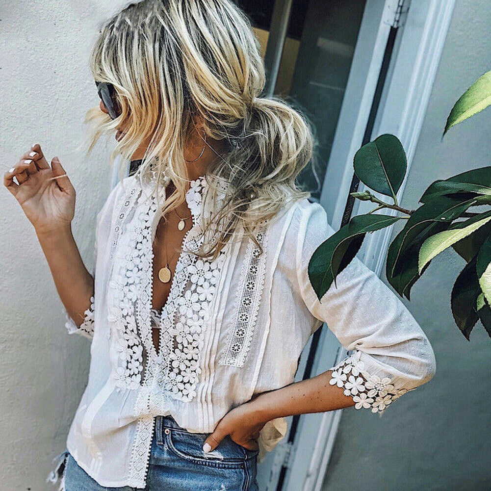 2019 New Women Floral Lace White   Blouse   Jumper Fashion Ladies Chiffon Loose Casual Long Sleeve Hollow Out   Blouses     Shirts