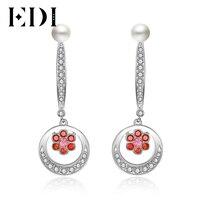 EDI Fashion 3mm Pearl Drop Earrings For Women Luxury Natural Garnet 925 Sterling Silver Party Earrings