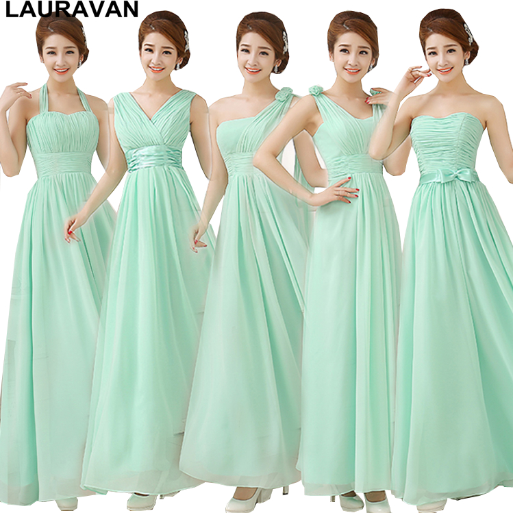 simple green mint   bridesmaid     dress   bridesmades long floor length gown   dresses   2018 a line chiffon for wedding free shipping