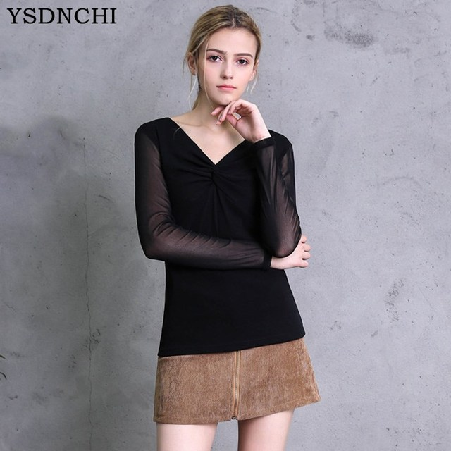 fb2504f3a8e YSDNCHI Female New Summer Blouses Sexy Long-Sleeved V Neck Long Sleeve Thin  Shirts Perspective