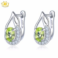 Hutang Stone Jewelry Natural Gemstone Peridot & Similar Diamond Solid 925 Sterling Silver Earrings Fine Fashion Jewelry For Gift
