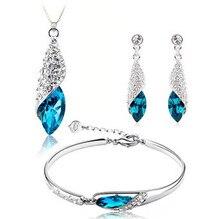 2017 venta caliente azul circón 925 pendientes de gota de plata de la joyería pulseras collares pendientes al por mayor regalo de cumpleaños