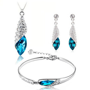 Hot sell blue zircon 925 sterling silver jewelry sets drop earrings bracelets pendant necklaces wholesale birthday gift no fade