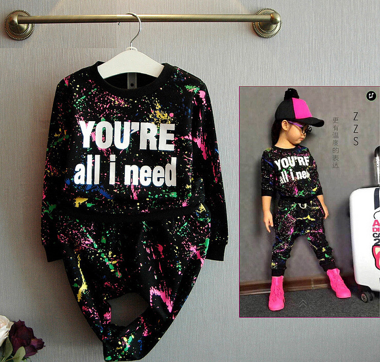 Kids Clothes Sets 2019 Spring/autumn New Long Sleeve Sweater+Pants Sports Suit Graffiti Letter Set 3-8 Years Costume Design image