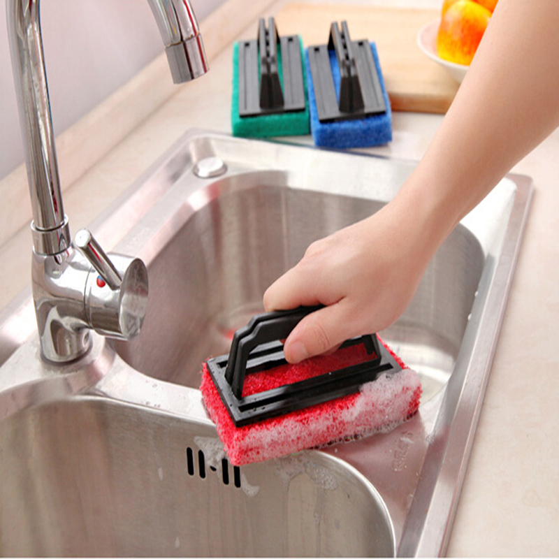 Strengthen Magic Sponge Cleaning Brush Corrosion Resistant Long-Handled No Scratches Oil Removal Dishwashing Brush