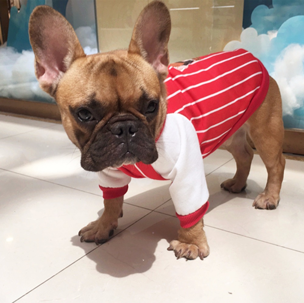 Y5 Fashion Striped Bulldog Hoodies Coat Baseball Style Autumn Pet Dog Clothes For Bulldog Two legs Clothing Apparel ...