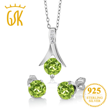 GemStoneKing 3.00 Ct Round Natural Green Peridot Pendant and Earrings Set Solid 925 Sterling Silver Jewelry Sets For Women