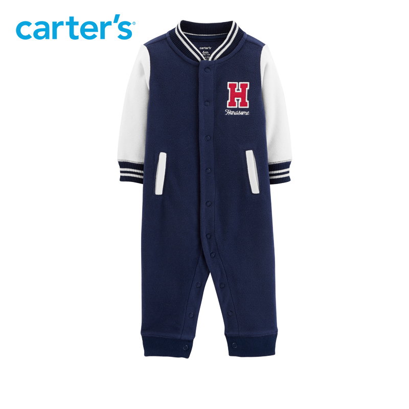 1pcs Letter embroidered stick Jersey Handsome Fleece Jumpsuit Carter's baby boy fall winter clothing 118I414