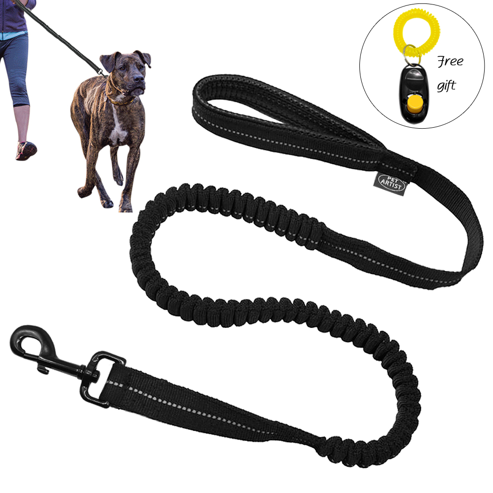 Reflekterande Stitching Bungee Dog Leash Elastisk Hund WalkingTraining Bly med Free Clicker Black