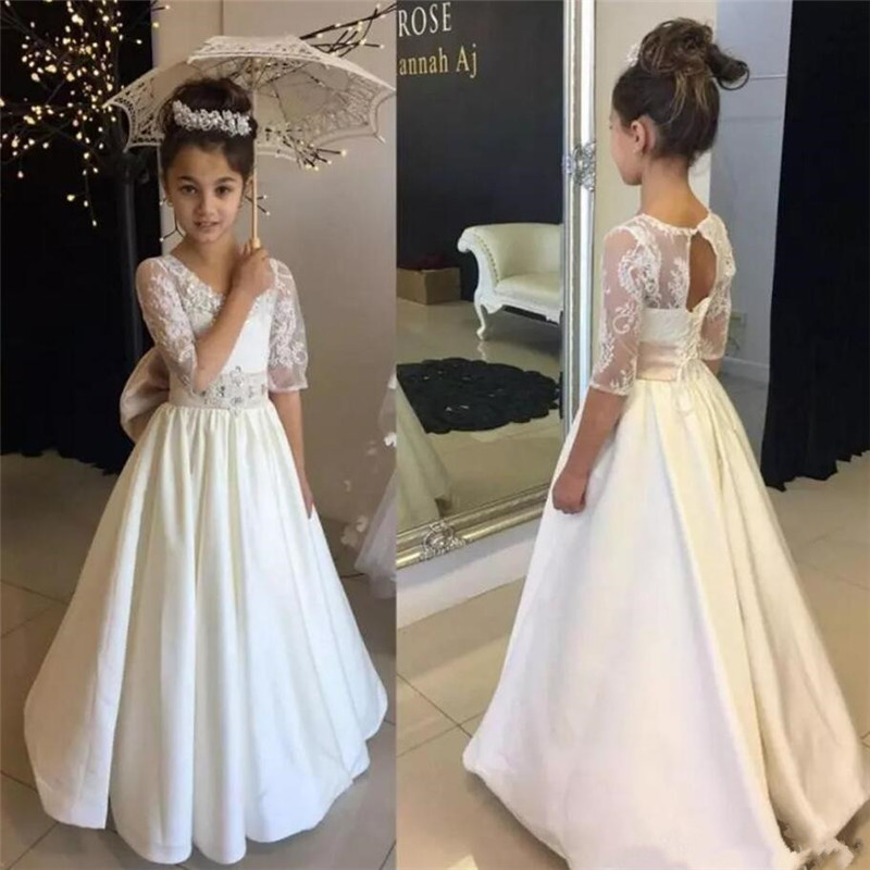 Long Floor Length Lace Top Satin Flower Girl Dress For Various Parties Crystals Lace Up Keyhole Back Half Sleeves Pageant Gowns Long Floor Length Lace Top Satin Flower Girl Dress For Various Parties Crystals Lace Up Keyhole Back Half Sleeves Pageant Gowns