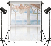 LB Vinyl Studio Backdrop Photography Photo Props Photographic Background Sea View Room Balcony Smooth Floor Crystal Chandelier(China)