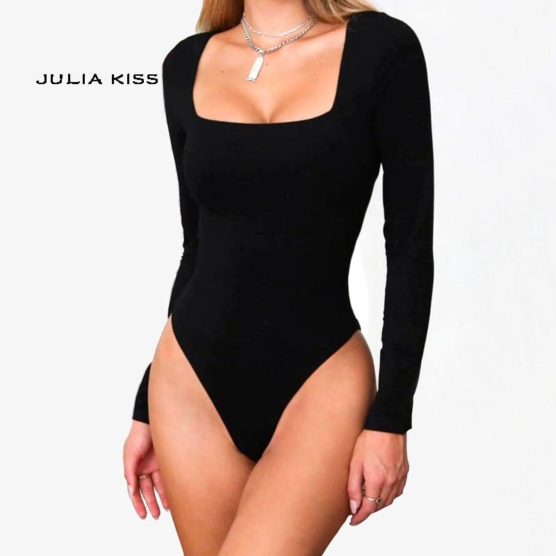 US Women Square Neck Bodysuit Leotard Bodycon Short Sleeve Jumpsuit Romper Tops