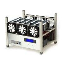 Совместимость 6 GPU Open горного воздуха случае компьютер ETH Шахтер Frame установка с 6 вентиляторов и температура монитора Системы хороший отвод