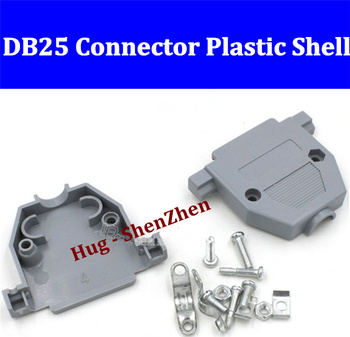 Free shipping plastic houseing case shell cover with screw for two rows DB25 serial Socket/Jack/Connector/port -100pcs/lot