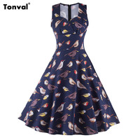 Tonval Birds Pattern Summer Vintage Women Retro 1950s 60s Rockabilly Swing Audrey Hepburn Elegant Dress